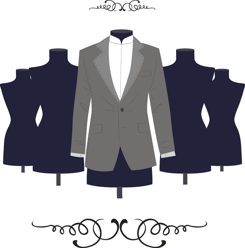 manichini con giacca e decorazioni
